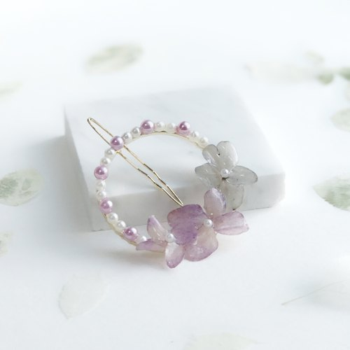 [Fleur d'amour] Hydrangea (purple) stereo flower hairpin hair ornaments Christmas gifts