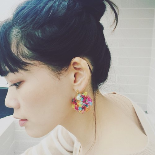 Marygo ﹝ ﹞ color three-dimensional circle earrings