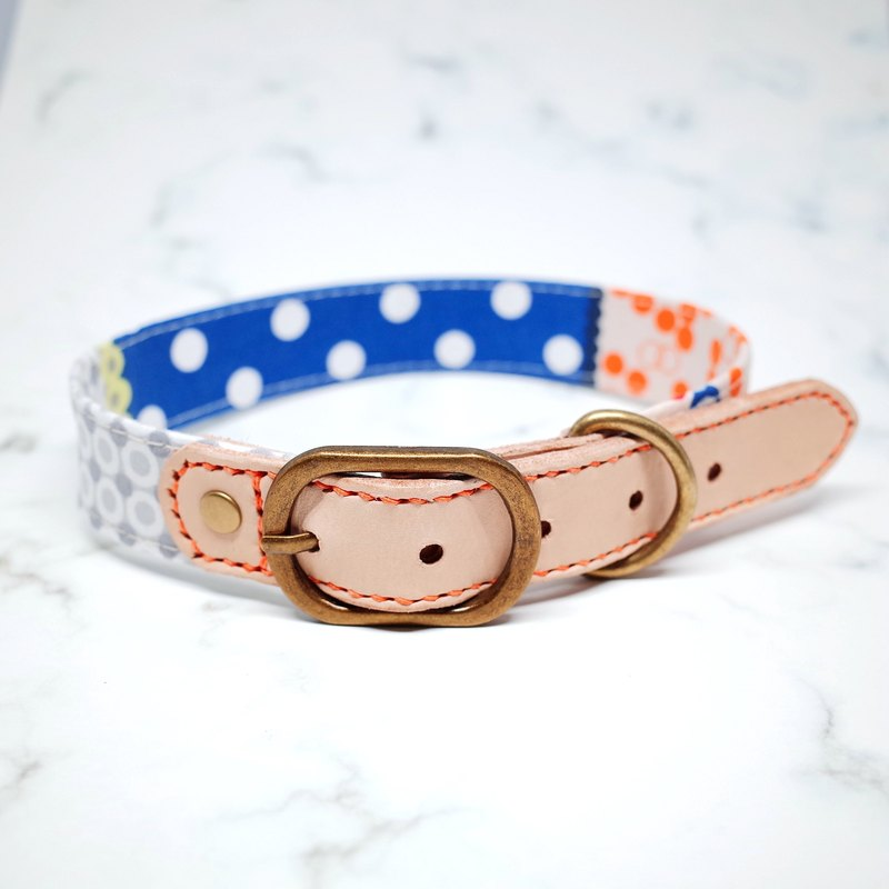 Dog collar L wide 2.5 cm French blue tan little + plant rub leather leather bell can be added to the tag with bells can be on the rope