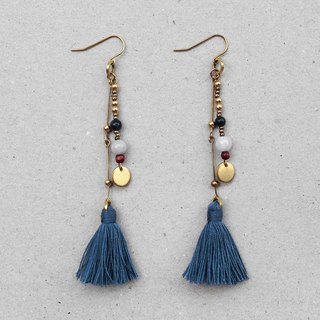 Freedom Bohemian Blue Tassel Brass Earrings - 14K Gold Filled Hooks / Clip-Ons