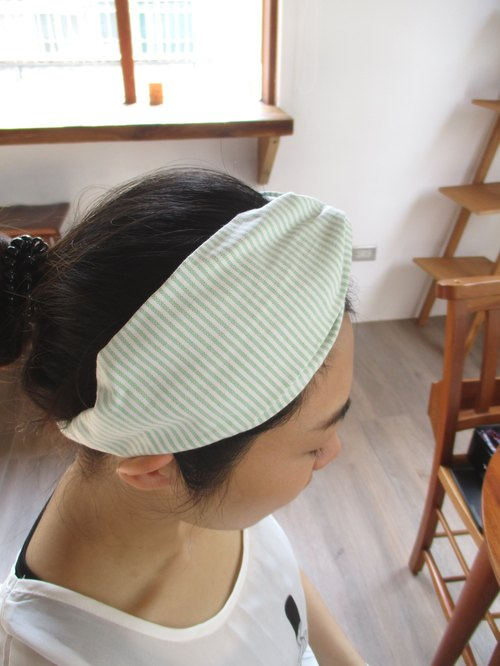Cross hair band (elastic handmade) - line travel - White / Light Green