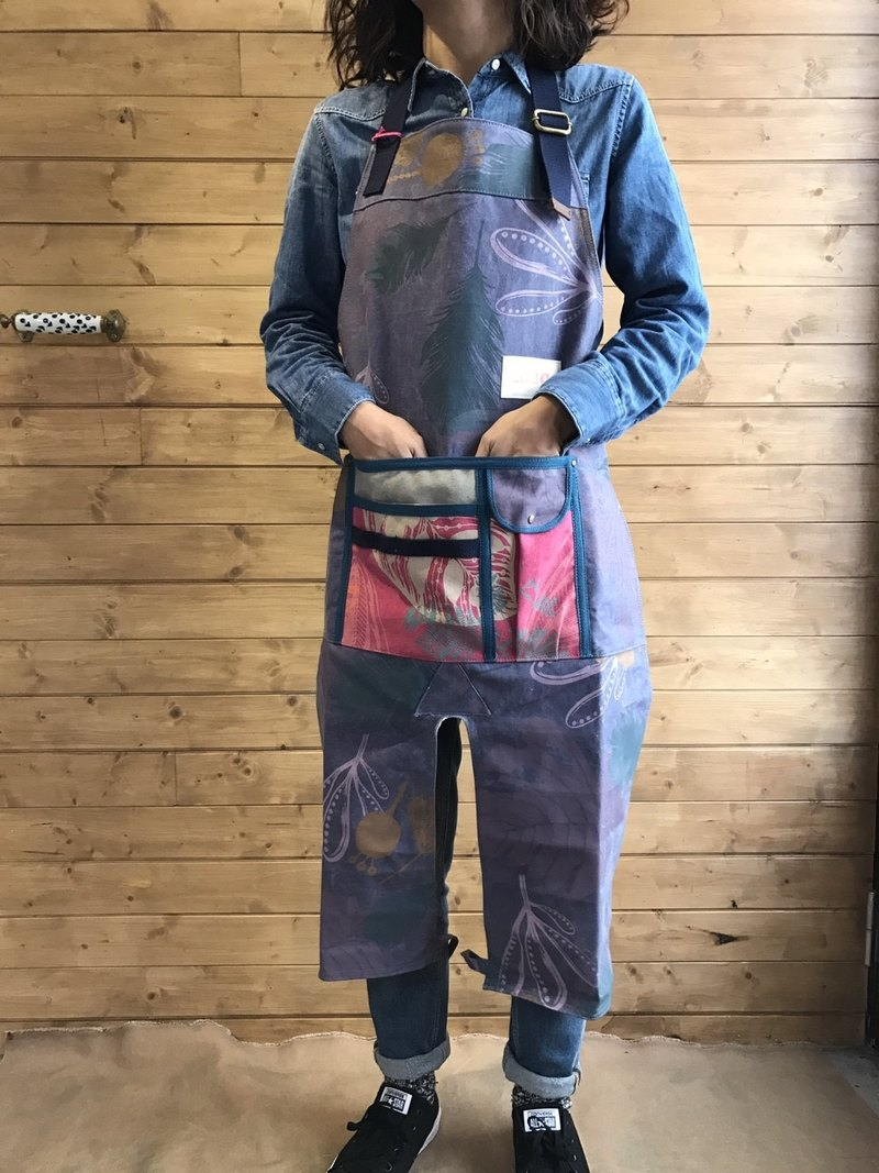 Hand-printed silk pants version of the work aprons