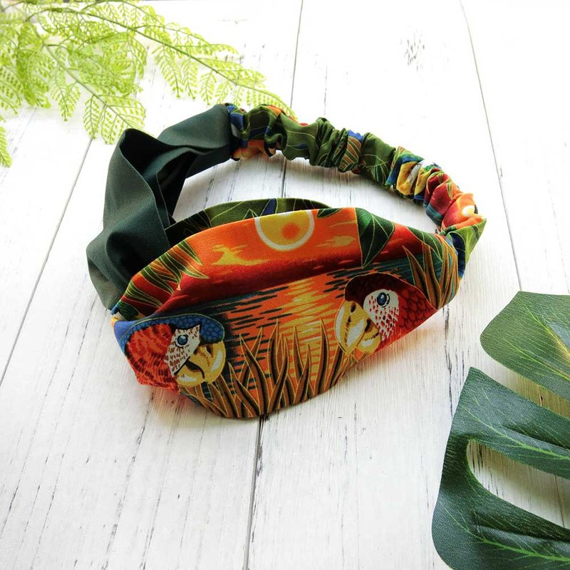 [Art] tropical jungle parrot hair band