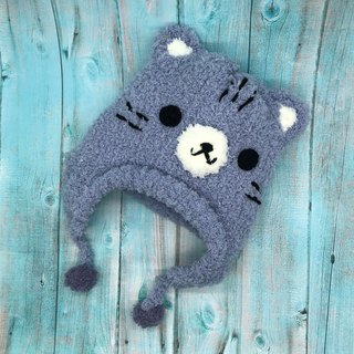 Gray Cat - Wool Knit Baby Woolen Hat Flying Hat Mi Yue Li Years Gift Christmas Gift