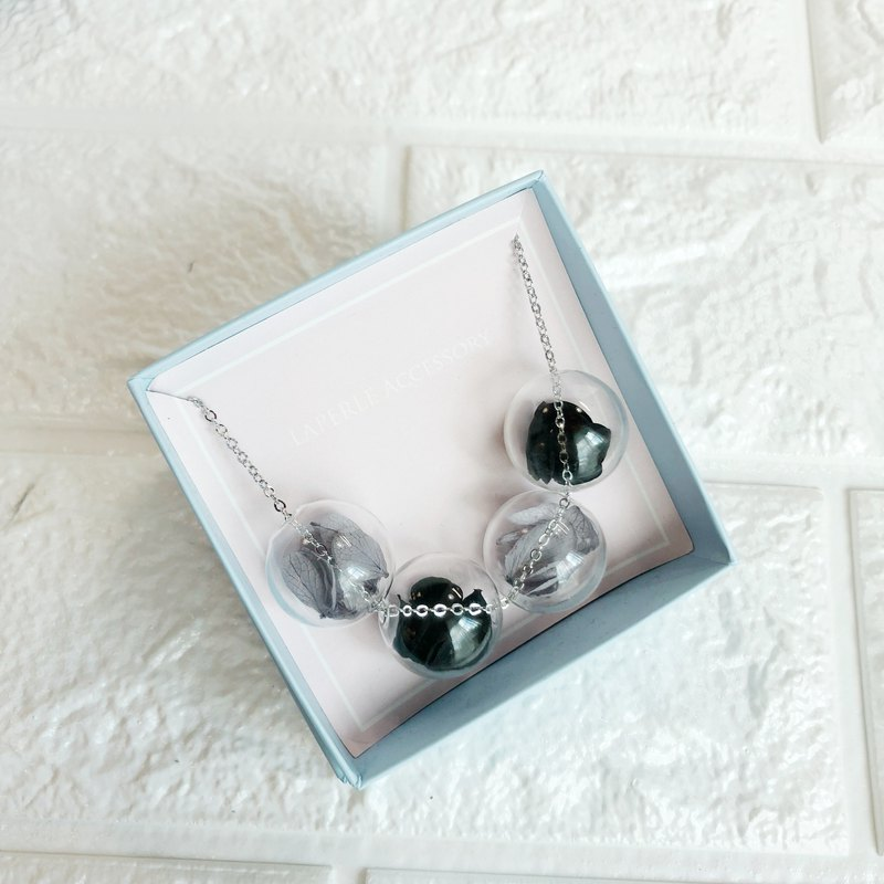 Black Grey Necklace Bridesmaid gift wedding gift Glass Ball Flower