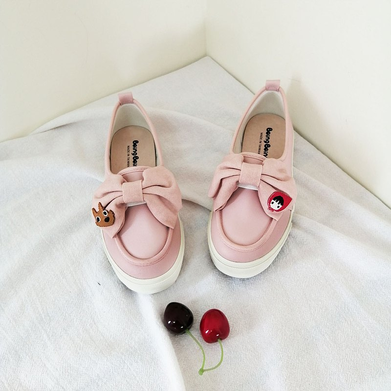 Sweet bowknot PINK casual shoes ( adult ) - Little Red Riding Hood and Big Wolf