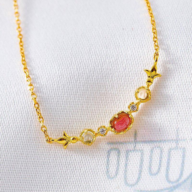 925銀天然玫瑰碧璽天然彩寶項鍊(含開光)招桃花、招貴人、招人緣