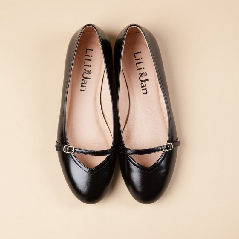 [Essence of elegance] full leather simple tie Hepburn flat shoes _ elegant oil black