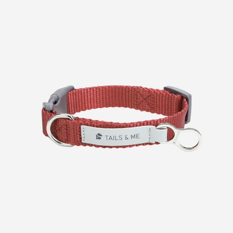 [Tail and me] classic nylon belt collar wine red M