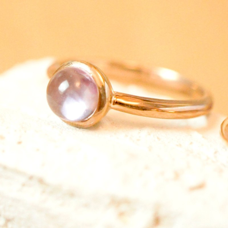 DOTDOT 6mm Round Cabochon Amethyst 18K Rose Gold Plated Silver Ring