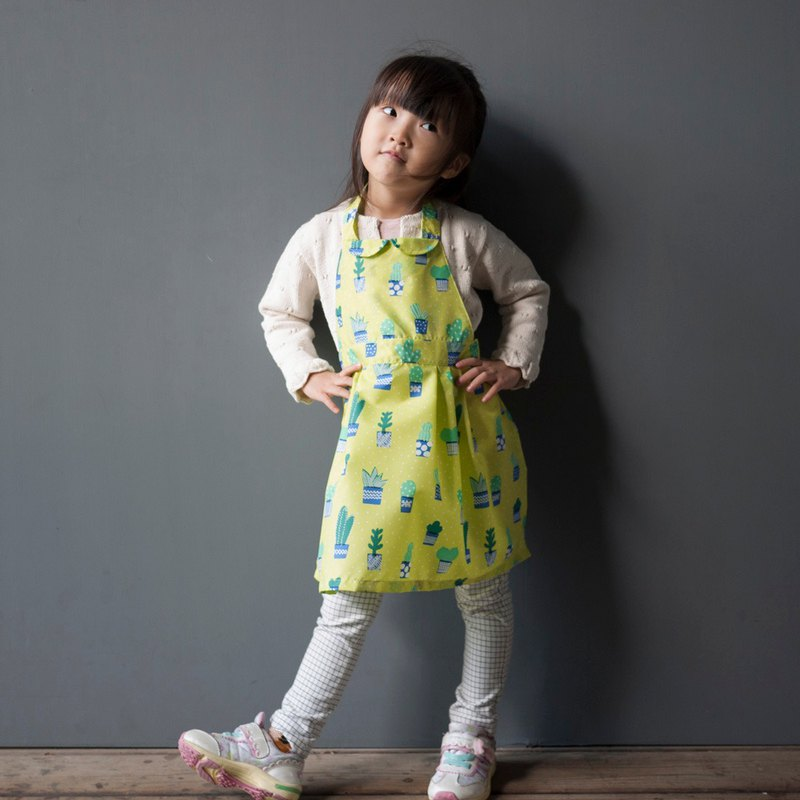 Little cactus yellow-green waterproof drawing working aprons