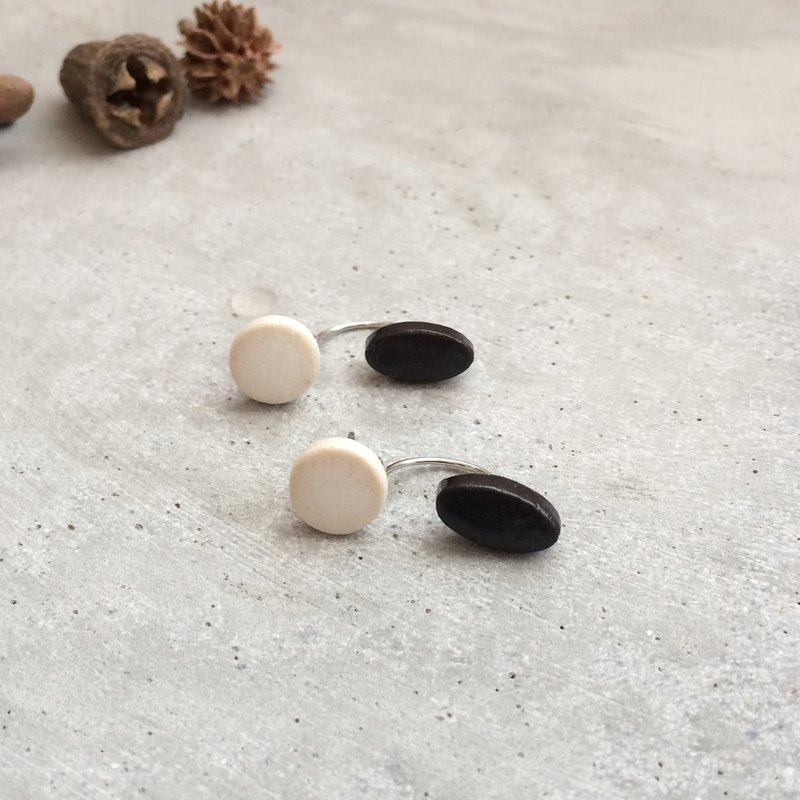 no / 56 small monotone small pottery earrings