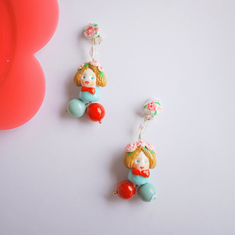 Clay hand made fairy girls earrings ear clip