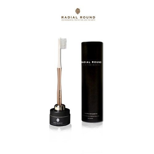 Stainless steel plastic toothbrush - gold (1 gold handle +1 brush +1 original steel base)