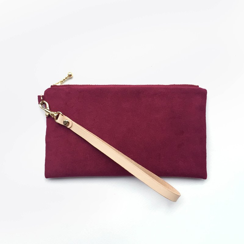Burgundy - Suede Pouch Leather Belt Cosmetic Bag Phone Bag