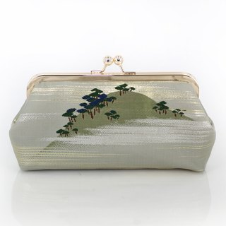 Vintage Japanese Kimono Obi Clutch | Pine Forest in a Misty Mountain