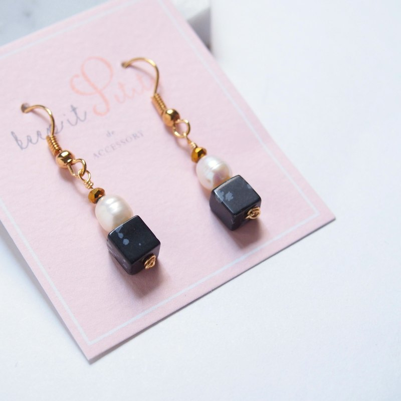 """KeepitPetite"" freshwater pearl • Alabaster • cubic ear hook earrings"