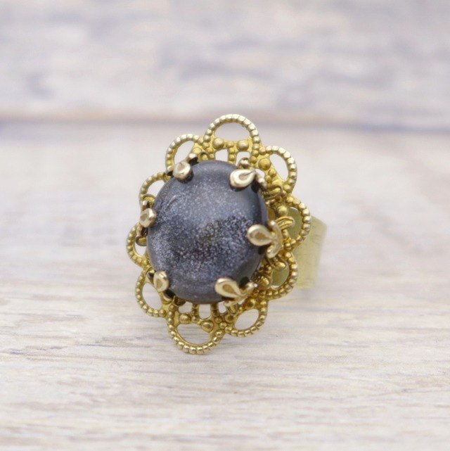 Galaxy, Brass and glass with shiny fine powder,  Oval shape ring, Space black