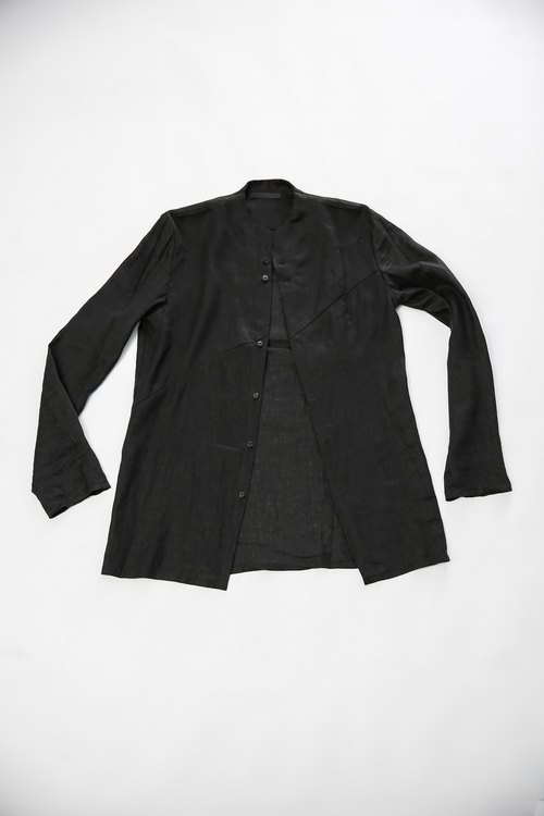 Pressure cut black button-down shirt