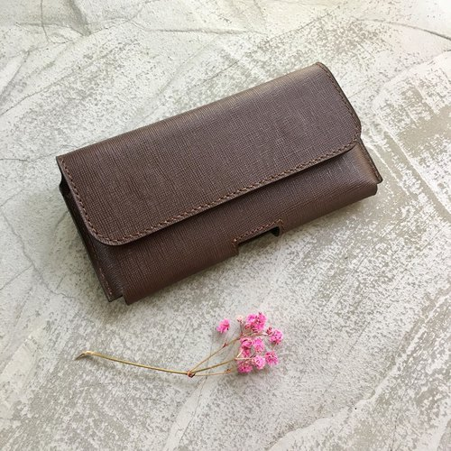 KAKU handmade leather handbag horizontal waist hanging mobile phone holsort custom made