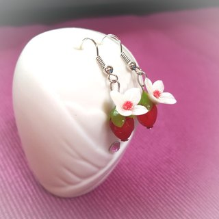 Small strawberry flower earring / ear hook
