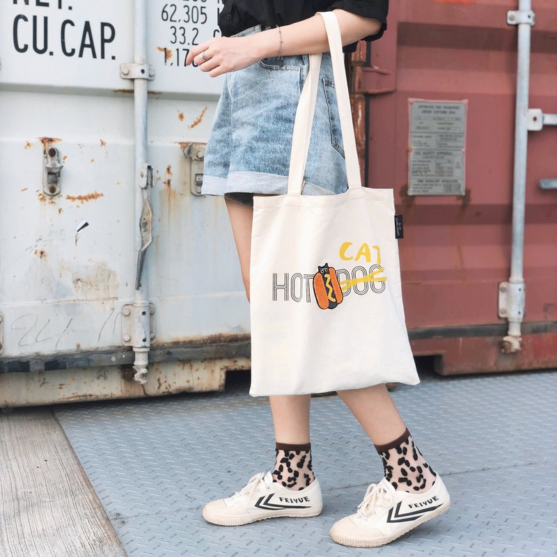 HOT CAT Furry Embroidered Silk Print Canvas Shopping Bag <Three Sesame / Peanut / Fart Options>