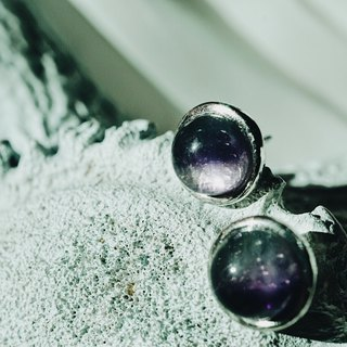 Fluorite 925 silver earrings purple green