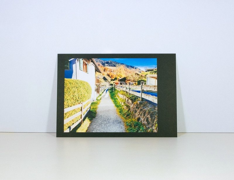 Photographic Postcard: Footpath Between Houses, Ramsau bei Berchtesgaden