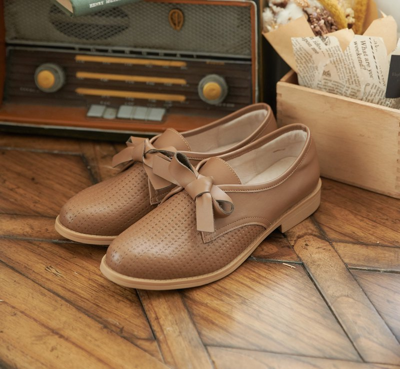 [British dress style] Oxford woven doll shoes size 22-28 brown