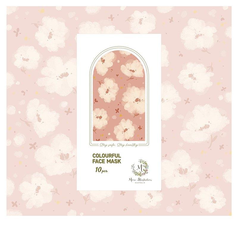 三層防塵口罩(成人用) - 粉紅雲朵