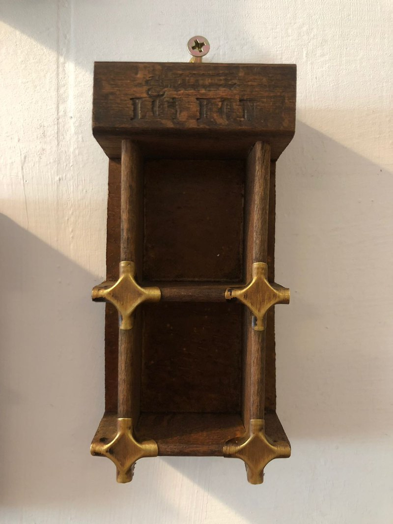 British antique wooden printing rack two special brass joint section