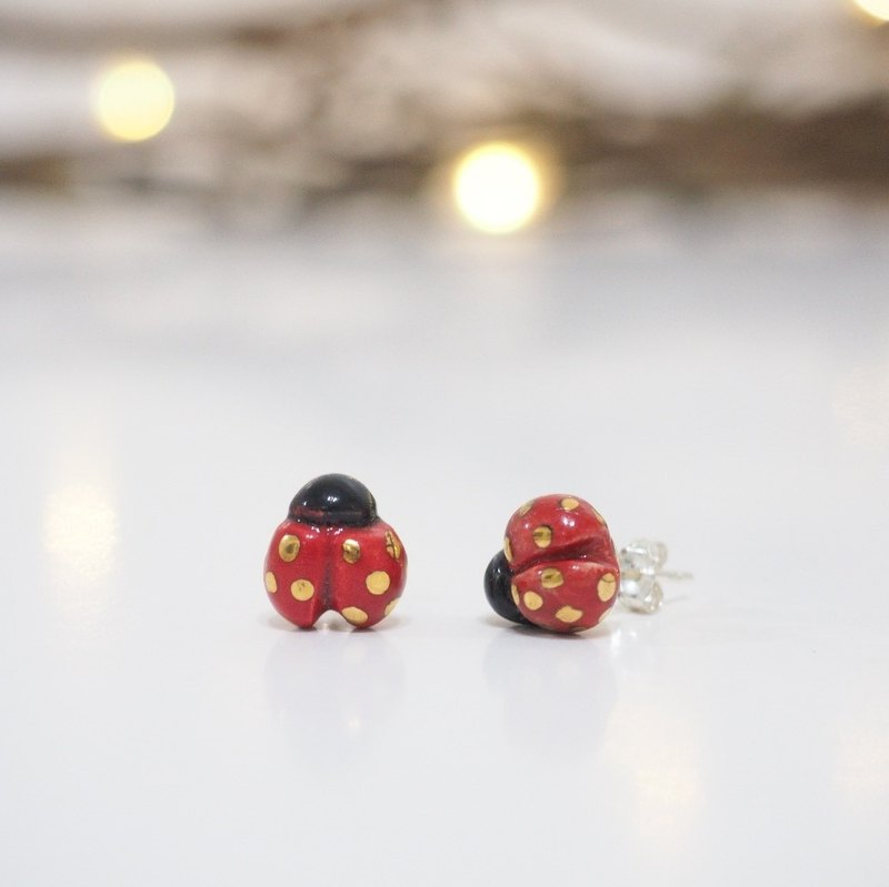 Tiny Ladybird Sterling Silver Stud Earrings