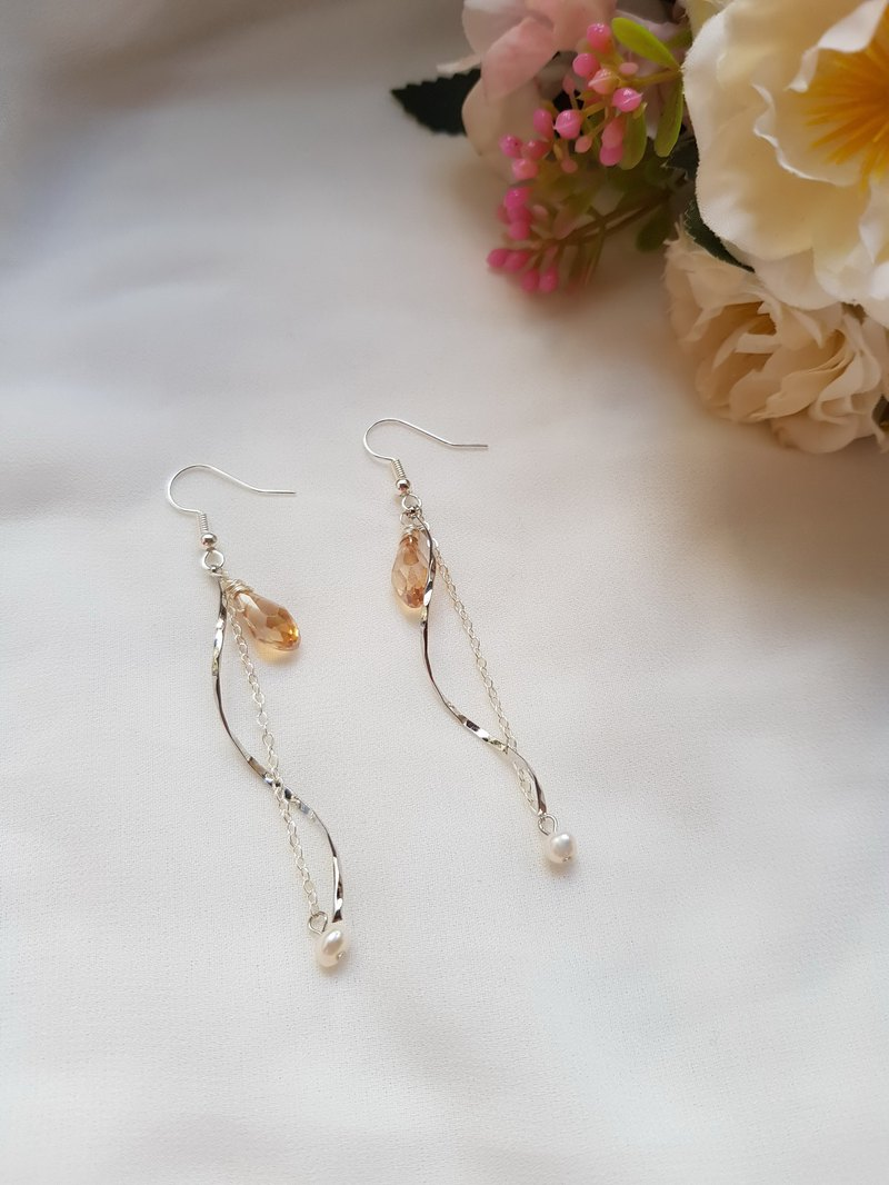 French Wave Silver-Quartz Crystal-Natural Stone Earrings / Brass Ear Hook Ear Clip