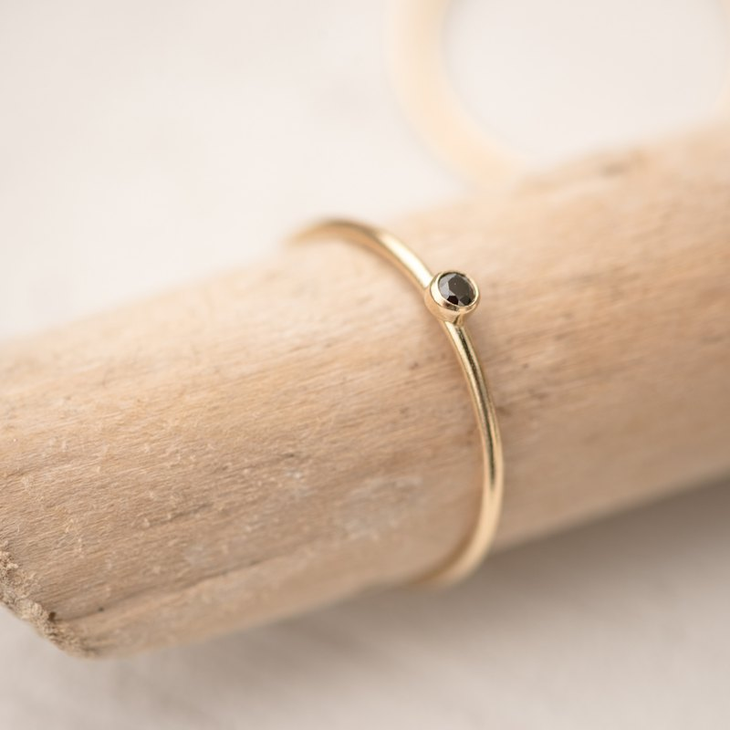 SWEDEN black dainty ring in 14k gold filled and black Zircon stone