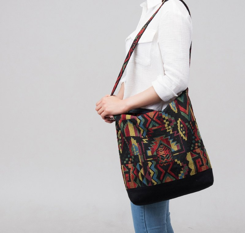 Black handmade  Messenger Crossbody bags