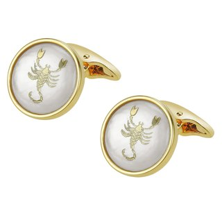 White Mother of Pearl Scorpio Gold Cufflinks