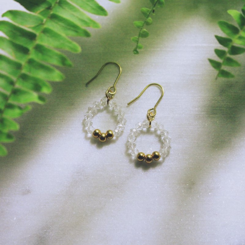 // Bobo glass crystal brass earrings crystal ash // ve077