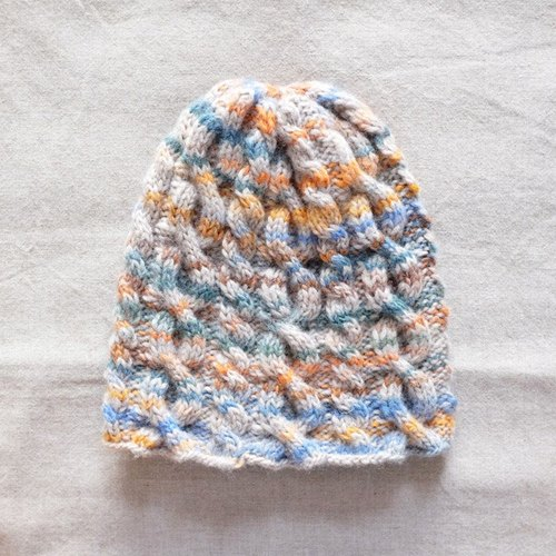 Winter. Curly twist wool cap, satin dyed Autumn