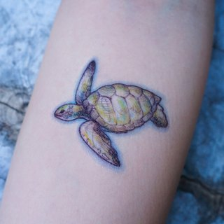 LAZY DUO Temporary Tattoo Sticker | Sea Turtle Ocean Animal watercolor Tattoos