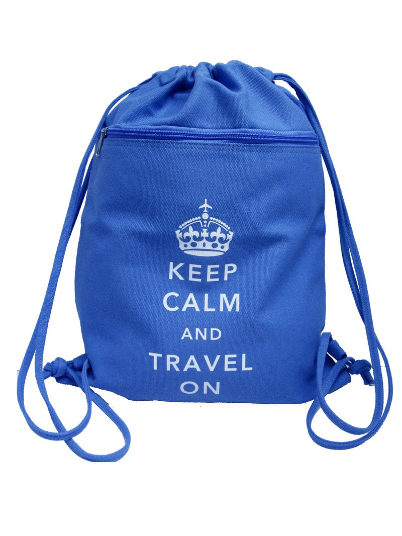 Keep Calm and Travel On British Style Canvas Backpack (Blue)