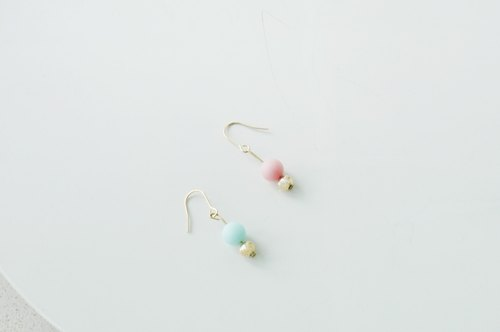 17 Autunm-Colorful Stone Earring-Blue and Pink
