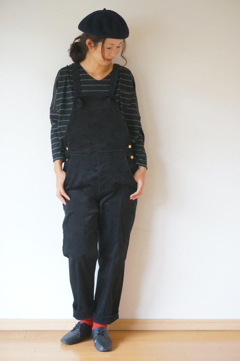 Cotton corduroy Salopette BLACK