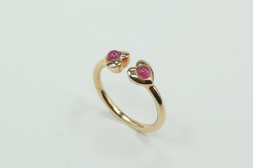 Stretch 18K gold ring: Mahogany