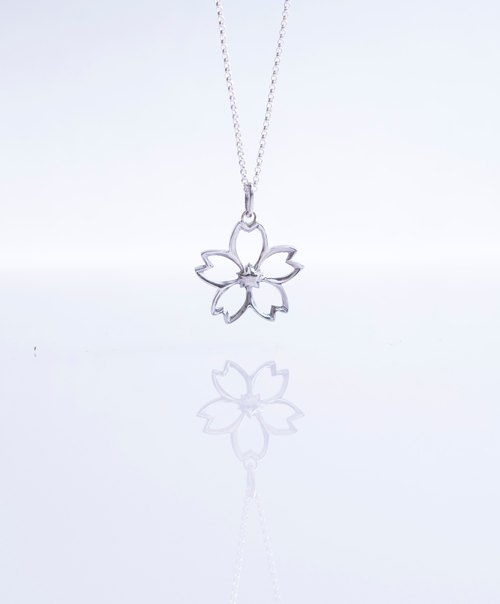 Hollow Sakura Necklace Handmade 925 Silver Skuura Sakura