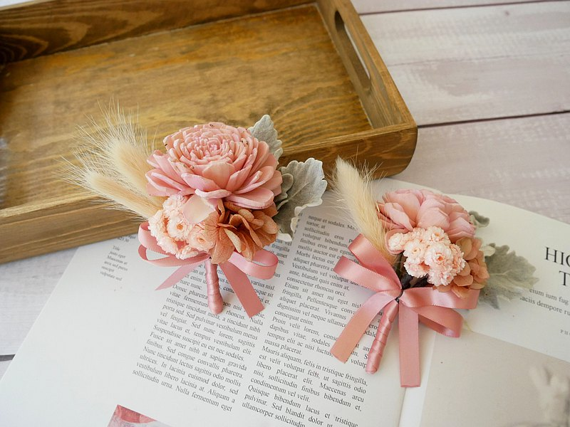 Dry flower corsage [Fandai Beauty] Best man corsage/entertainment/pink/customized