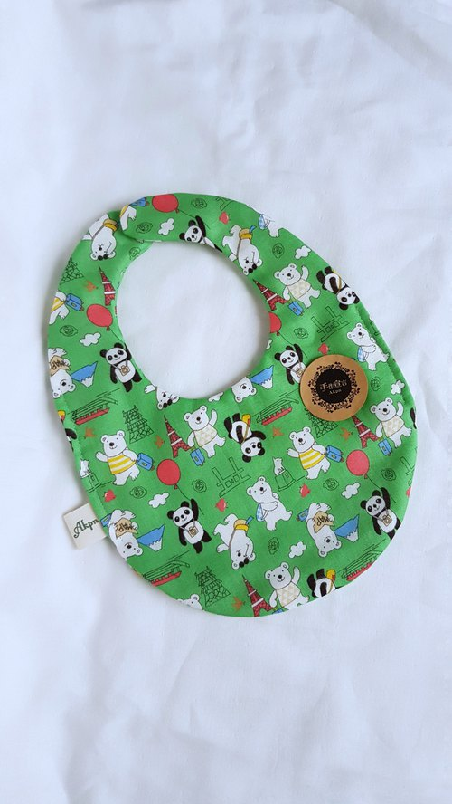 Polar bears and pandas tour Japan - green - double-sided egg bibs. Bibs 100% cotton eight layers of yarn