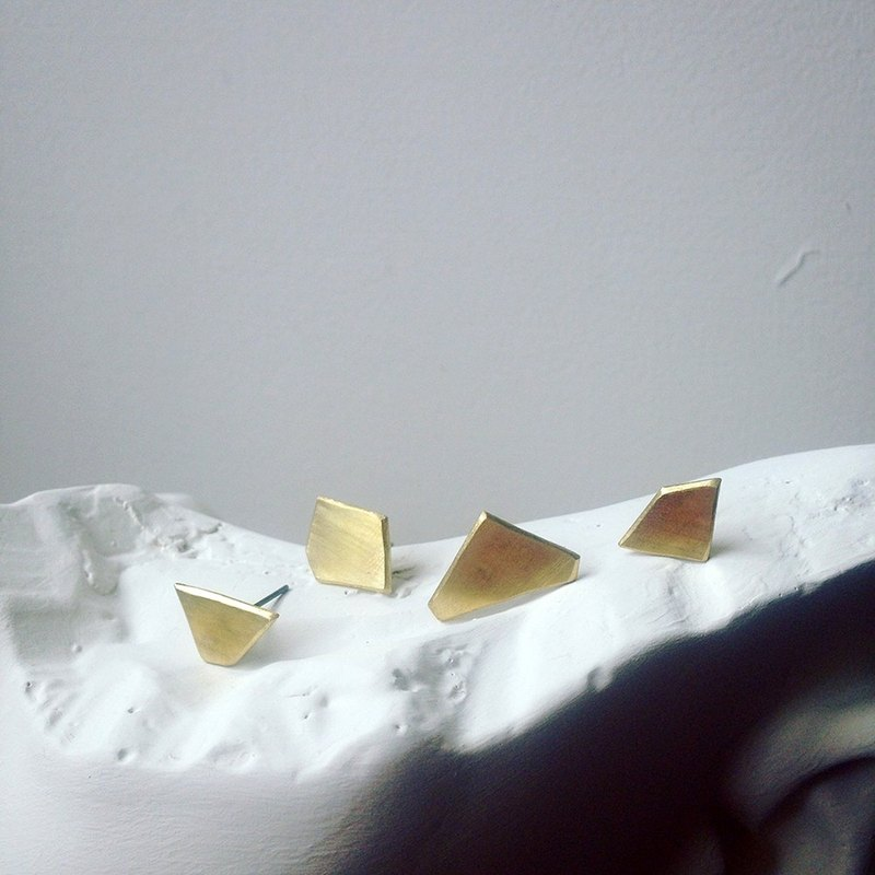 【 PURE COLLECTION 】- Minimalism plane .925 brass earrings(single earring for sale)