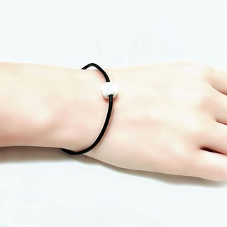 White Lava Rock Diffuser Thin Black Natural Leather Bracelet with Extend Chain