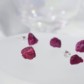 Raw Ruby 925 silver earrings July Birthstone