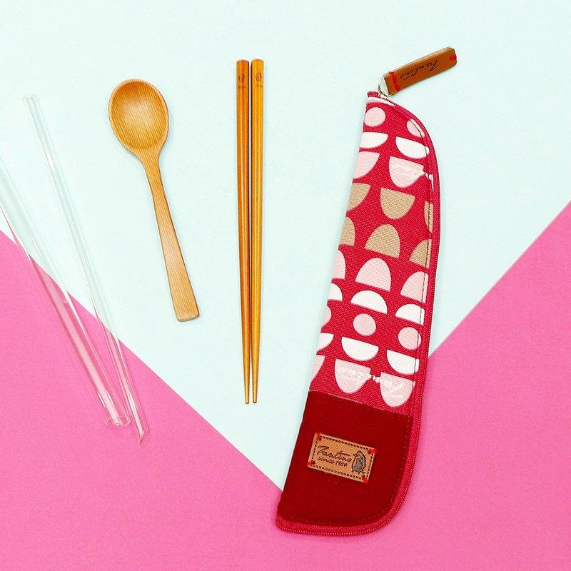 獨創布花 棉麻餐具袋::紅水玉:: (水玉迷宮)環保餐具/交換禮物
